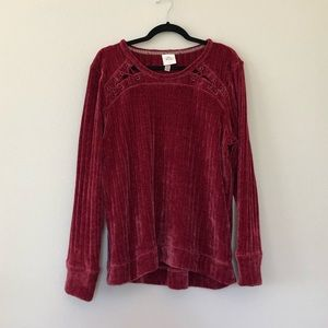 Knox Rose Sweaters - Knox rose chenille red berry sweater XL lace up